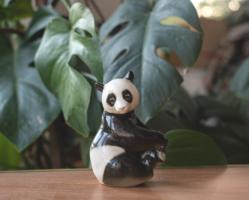 Lomonosov panda figurine - retro Russian porcelain
