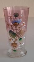 Szecessziós festett fújt üveg pohár