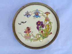 Art Nouveau faience insert tray, centerpiece