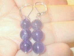 Amethyst mineral pearl earrings