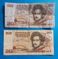 2 db 20 Schilling , az egyik kékes papíron