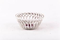 Herend, apponyi raspberry patterned porcelain wicker basket, flawless! (P137)