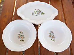 3 Pcs. Porcelain bowl tray with chamomile flowers
