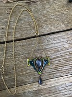 Old vintage art nouveau fire enamel jewelry brooch