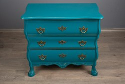 Chest of drawers, 3 drawers, turquoise, antique with gold, renovated.