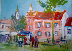 Small town street picture oil painting