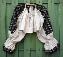 Mellévarrott bő ujjú rövid ingváll női ing mintás vászon népviselet XX. század eleje