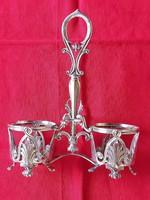Antique silver oil vinegar holder