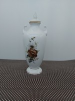 Alföldi váza barna virágos dekorral