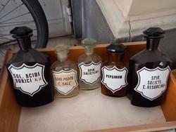 Art deco pharmacy bottles / bottles (5 pcs) from 1930/1940