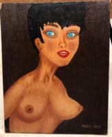 Jelzett félakt olaj festmény hagyatékból Hackl 1966