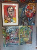 László Fodor (laszlo fodor) 1896-1945, 4 paintings, average 50x70 cm, oil on canvas and an oil cardboard