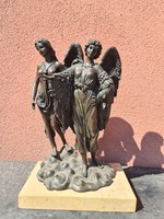 Szárnyas angyal 2 alakos bronzszobor