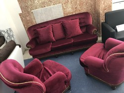 Renovated chesterfield sofa and two armchairs