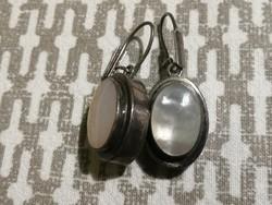 Pair of antique art-deco silver earrings