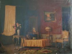19th century oil canvas interior