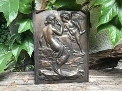 2 pcs. Beautiful cupid putto female nude scene bronze plaque image bathroom ornament
