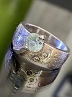 Gyönyörűséges ezüst gyűrű, valódi Kék-Topáz kővel