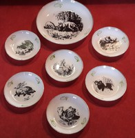 Hunter glass cake plate set