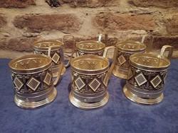 Dekoratív alumínium pohár tartó  6 db