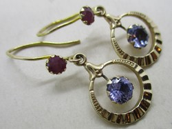 Beautiful old gold earrings with ruby and tanzanite stones