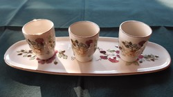 Zsolnay butterfly tray with cupful glasses