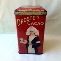 Antik, retró Droste's kakaós fémlemez, fém doboz