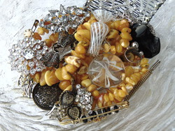 Treasure package with bijouterie, glass, acrylic objects