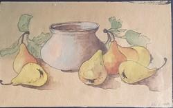 Jelzett, Gál G. 1958. kortás festmény, csendélet