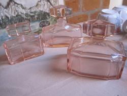 Rózsaszín öntött üveg,,pipere készlet !