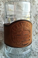 Rare thermal water-leather strapped solid glass jar! 0. 5L / 70 dkg !!!