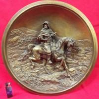Ritka Johann Maresch  3D Keleti Lovas Terrakotta Kerámia Tányér,Tál. 43 cm