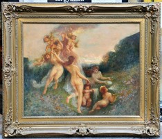 Henry Fantin Latour (1836-1904) nevéhez fűződik, Mitikus jelenet, Vénusz ünnepe