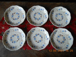 Zsolnay forget-me-not pattern cake plate 6 pcs