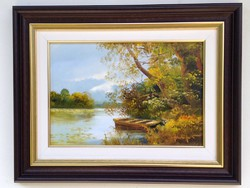 Black psalm waterfront framed 33x43cm oil painting