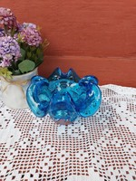 Beautiful blue glass colorful ashtray ash offering bohemian Czech collectible pieces mid-century modern