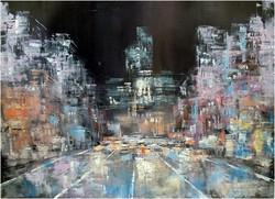 Oil painting, street scene,