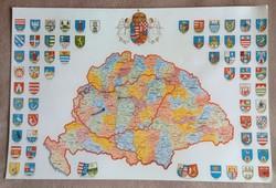 Nagy Magyarország térképe vármegye címerekkel eladó!