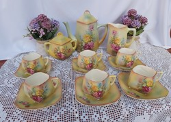 Extra rare faience rosy floral tea set with beautiful collectible pieces in teapot cup sugar bowl