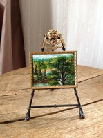 Antique miniature painting with silver plated copper stand