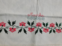 Antique embroidered linen towel with the inscription mariska