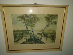 Ferenc Zajti (1886-1961) landscape with rivers-original work, with recommendation, from 1 forint, only for 1 week.