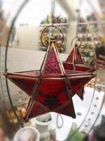 Red five-pointed star pendant with candle, copper, tiffany technique, red decorative glass, with copper chain 30 x 30 cm