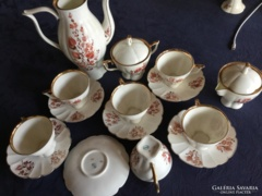 Jiesia porcelain coffee set, 6 persons, richly gilded, hand-painted