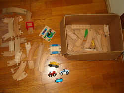 Box-looking retro looking wooden car racing track with cars kids toy sale creative