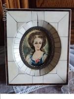 Antique 1800s ... Bone frame in watercolor miniature xv. Louis picture museum picture