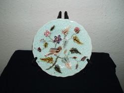 Antique-1880-steidl znaim- bird-majolica-plate porcelain-19-cm