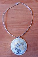 Kézműves gyöngyház nyakék 925-ös ezüst nyakpánt