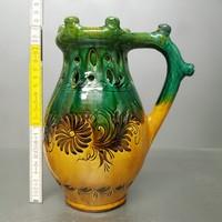 Virágmintás, zöld, sárga mázas hódmezővásárhelyi népi kerámia csalikancsó (1257)