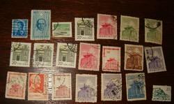 21 db kínai bélyeg kina népköztársaság Sun Yat Sen modernebbek Hong Kong II. Erzsebet brittel